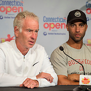 August 25, 2016, New Haven, Connecticut: <br /> John McEnroe and James Blake address the media in a press conference during the Men's Legends Event on Day 7 of the 2016 Connecticut Open at the Yale University Tennis Center on Thursday, August  25, 2016 in New Haven, Connecticut. <br /> (Photo by Billie Weiss/Connecticut Open)