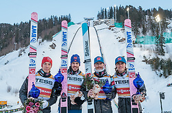 17.03.2018, Vikersundbakken, Vikersund, NOR, FIS Weltcup Ski Sprung, Raw Air, Vikersund, Team, im Bild Johann Andre Forfang (NOR), Andreas Stjernen (NOR), Robert Johansson (NOR), Daniel Andre Tande (NOR) // Johann Andre Forfang of Norway, Andreas Stjernen of Norway, Robert Johansson of Norway, Daniel Andre Tande of Norway during Team Competition of the 4th Stage of the Raw Air Series of FIS Ski Jumping World Cup at the Vikersundbakken in Vikersund, Norway on 2018/03/17. EXPA Pictures © 2018, PhotoCredit: EXPA/ JFK