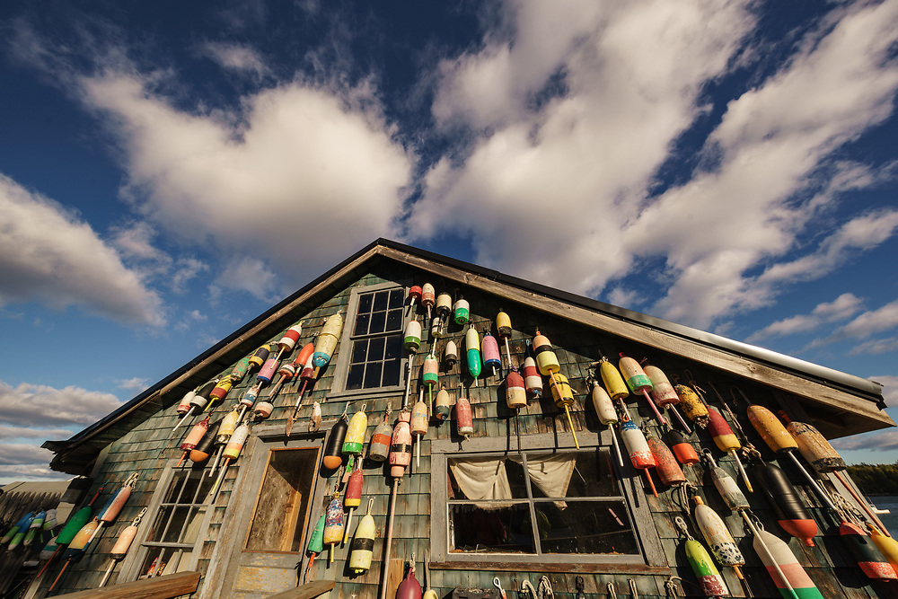 A wide angle view of a lobster shack with buoys and dramatic clouds, thurston's lobster pound, bernard, Maine USA