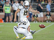 WEST LAFAYETTE, IN - SEPTEMBER 15: Tucker McCann #19 of the Missouri Tigers kicks the game winning field goal against the Purdue Boilermakers at Ross-Ade Stadium on September 15, 2018 in West Lafayette, Indiana. (Photo by Michael Hickey/Getty Images) *** Local Caption *** Tucker McCann NCAA Football - Purdue Boilermakers vs Missouri Tigers at Ross-Ade Stadium in West Lafayette, Indiana. Sports photographer by Michael Hickey