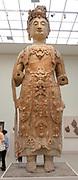 Bodhisattva, probably Avalokiteshvara (Guanyin) from China, Northern Qi dynasty. ca. 550–560 Sandstone with pigment