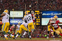 12 January 2013: Quarterback (12) Aaron Rogers of the Green Bay Packers passes the ball against the San Francisco 49ers during the second half of the 49ers 45-31 victory over the Packers in an NFL Divisional Playoff Game at Candlestick Park in San Francisco, CA.