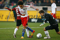 26.11.2011, AWD Arena, Hannover, GER, 1.FBL, Hannover 96 vs Hamburger SV, im Bild Paolo Guerrero (Hamburg #9) wird von Steven Cherundolo (Hannover #6) gehalten // during the Match GER, 1.FBL, Hannover 96 vs Hamburger SV, AWD Arena, Hannover, Germany, on 2011/11/26. EXPA Pictures © 2011, PhotoCredit: EXPA/ nph/ Schrader..***** ATTENTION - OUT OF GER, CRO *****