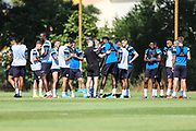 Mid session drinks break during the Forest Green Rovers Training session at Browns Sport and Leisure Club, Vilamoura, Portugal on 24 July 2017. Photo by Shane Healey.