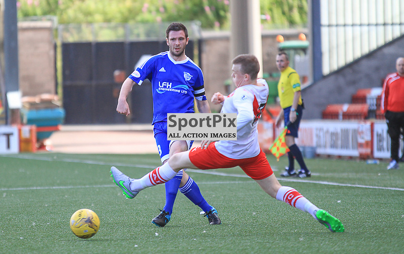Airdrieonians V Peterhead  Scottish League One 29 August 2015;  Peterhead's Steven Noble and Airdrie's Liam Watt during the Airdrieonians V Peterhead Ladbrokes Scottish League One match played at Excelsior Stadium, Airdrie.