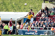 Northampton Town Defender Luke Prosser leaps for the ball during the Sky Bet League 2 match between Northampton Town and Newport County at Sixfields Stadium, Northampton, England on 25 March 2016. Photo by Dennis Goodwin.