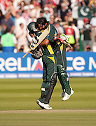 Pakistan batsmen Shahid Afridi and Shoaib Malik celebrate winning the ICC World Twenty20 Cup Final against Sri Lanka at Lord's. Photo © Graham Morris (Tel: +44(0)20 8969 4192 Email: sales@cricketpix.com)