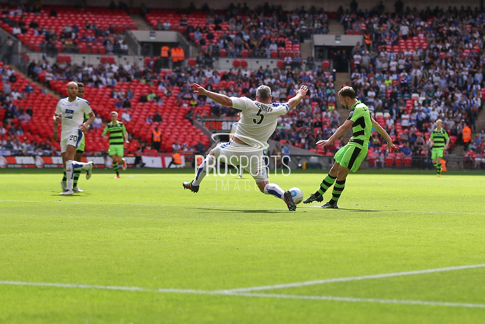 Forest Green Rovers Christian Doidge(9) shoots at goal scores a goal 2-0 during the Vanarama National League Play Off Final match between Tranmere Rovers and Forest Green Rovers at Wembley Stadium, London, England on 14 May 2017. Photo by Shane Healey.