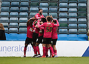 Peterborough midfielder Erhun Öztümer celebrates with team mates after his goal to make it 1-0 to Peterborough during the Sky Bet League 1 match between Gillingham and Peterborough United at the MEMS Priestfield Stadium, Gillingham, England on 23 January 2016. Photo by David Charbit.
