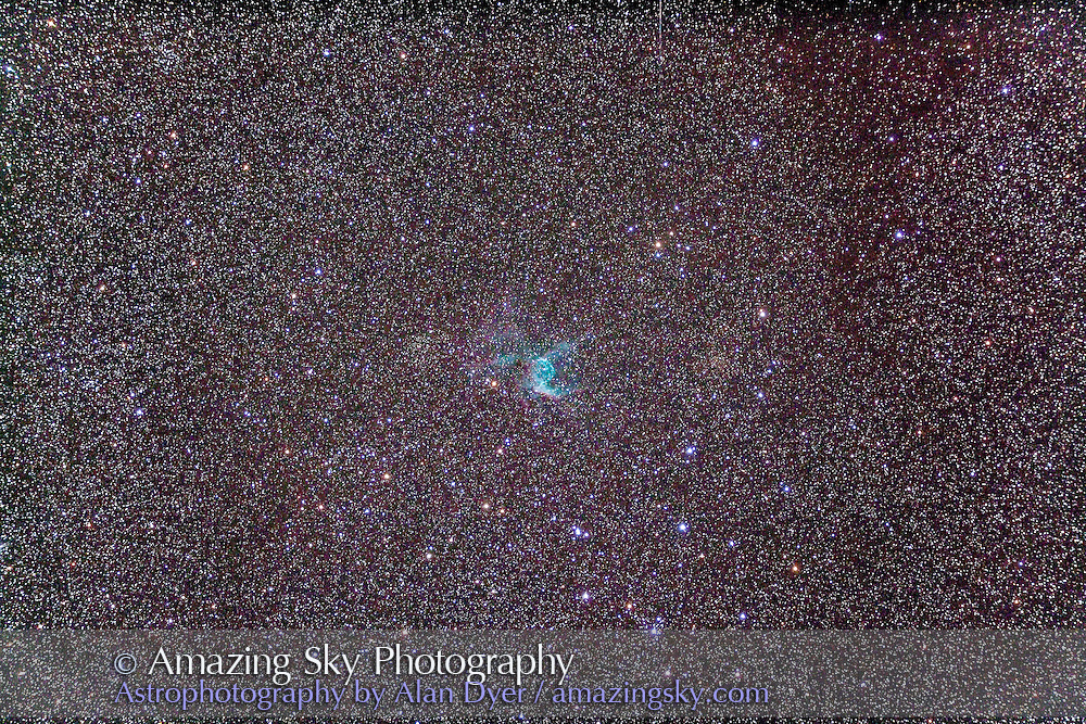 The Thor's Helmet or Duck Nebula, NGC 2359 in Canis Major. Faint cluster at left of nebula is Haffner 6, one at upper left is Haffner 8; one at left edge of frame, centre, is NGC 2374. This is a stack of 4 x 10 minute exposures at ISO 800 with the Canon 5D MkII and Astro-Physics Traveler 105mm apo refractor at f/5.8 with the 6x7 field flattener. Taken from Timor Cottage, Coonabarabran, Australia, December 18/19, 2012.
