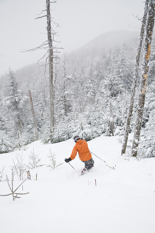 Backcountry telemark skiing at Mad River Glen in Waitsfield, Vermont