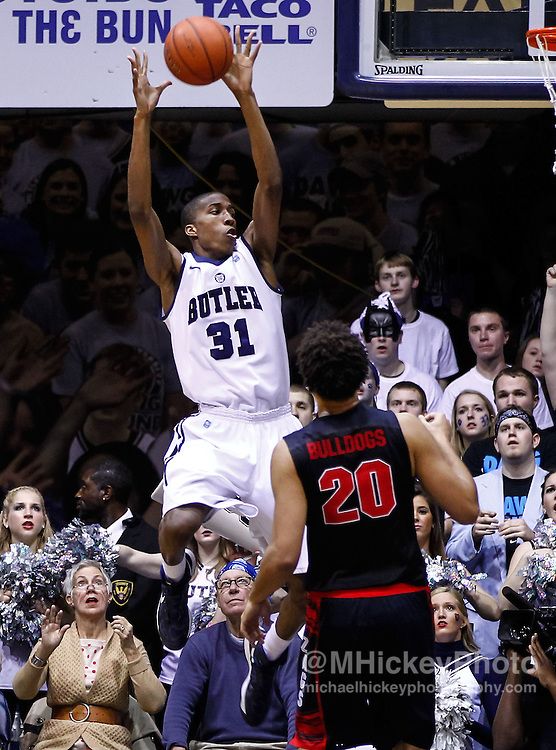 INDIANAPOLIS, IN - JANUARY 19: Kameron Woods #31 of the Butler Bulldogs catches a pass as Elias Harris #20 of the Gonzaga Bulldogs looks on at Hinkle Fieldhouse on January 19, 2013 in Indianapolis, Indiana. Butler defeated Gonzaga 64-63. (Photo by Michael Hickey/Getty Images) *** Local Caption *** Kameron Woods; Elias Harris