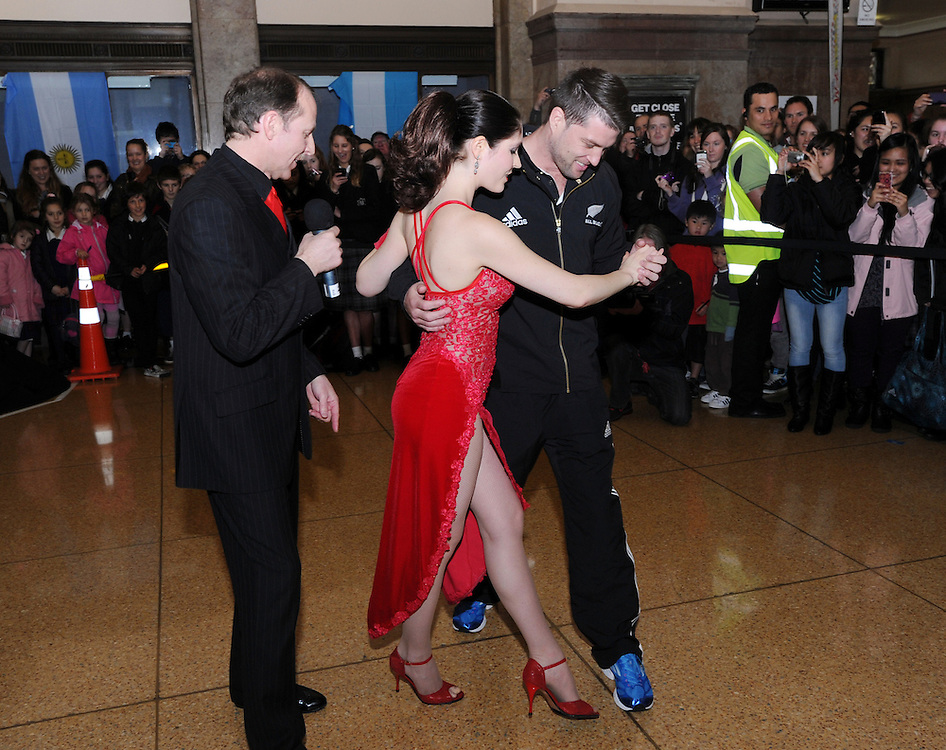All Black Cory Jane takes tango lessons from John and Felicity Flowers at a promotion for the International test against Argentina on Saturday night, at the Railway Station, Wellington, New Zealand, Monday, September 03, 2012. Credit:SNPA / Ross Setford