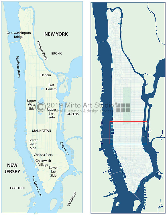 Vector map of New York City, New York