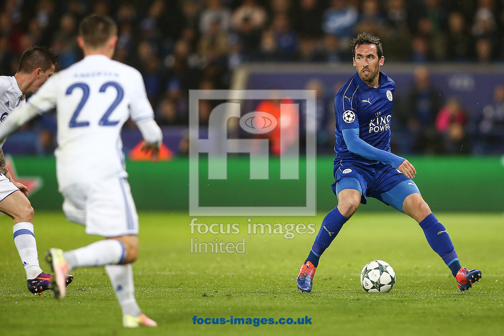 Christian Fuchs of Leicester City (right) during the UEFA Champions League match at the King Power Stadium, Leicester<br /> Picture by Andy Kearns/Focus Images Ltd 0781 864 4264<br /> 18/10/2016