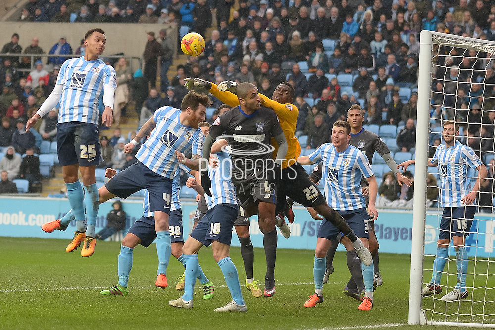 Coventry City Goalkeeper Reice Charles-Cook punches clear during the Sky Bet League 1 match between Coventry City and Bury at the Ricoh Arena, Coventry, England on 13 February 2016. Photo by Dennis Goodwin.
