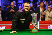 Mark Allen with the trophy after winning the Snooker Players Championship Final at EventCity, Manchester, United Kingdom on 27 March 2016. Photo by Pete Burns.
