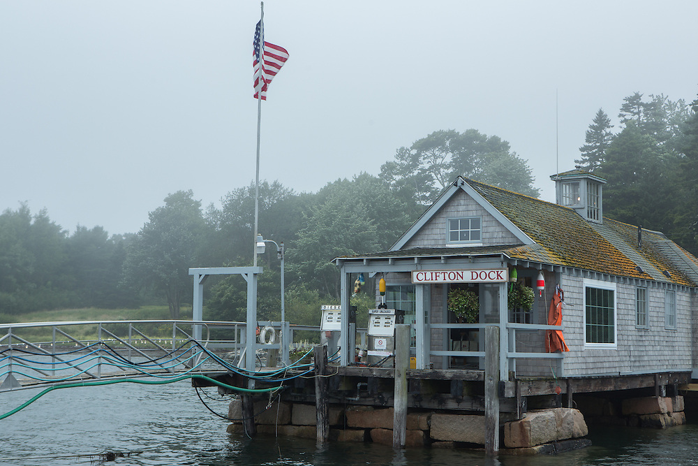 Northeast Harbor, ME - 13 August 2014. Clifton Dock, near the entrance to Northeast Harbor, in the fog.