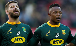 Willie le Roux with Sibusiso Nkosi of South Africa - Mandatory by-line: Steve Haag/JMP - 23/06/2018 - RUGBY - DHL Newlands Stadium - Cape Town, South Africa - South Africa v England 3rd Test Match, South Africa Tour