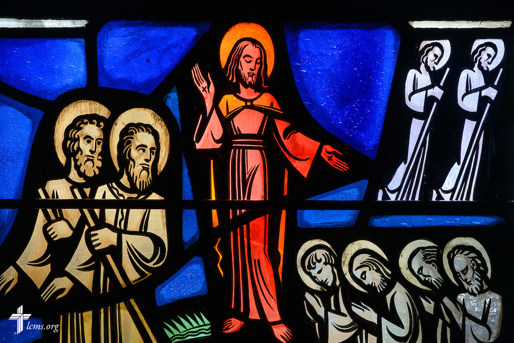 Stained glass depicting Jesus Christ at Luther Memorial Chapel on Friday, Jan. 29, 2016, in Shorewood, Wis. LCMS Communications/Erik M. Lunsford