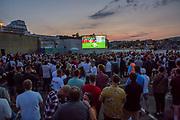 England Vs Columbia, the big screen, Folkestone Harbour Arm. Kent, United Kingdom. England beat Columbia on penalties.