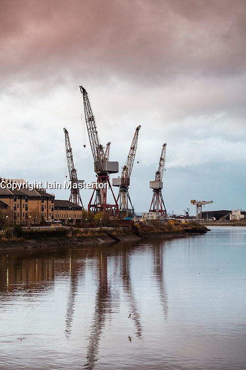 BAE shipyard on River Clyde at Govan in Glasgow Scotland United Kingdom