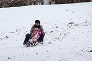 Een vrouw glijdt met een meisje op de slee de heuvel in het Sonsbeekpark in Arnhem af.<br /> <br /> A woman is sitting with a young girl on a sled at Sonsbeekpark in Arnhem