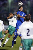 Fotball<br /> Kvalifisering til EM 2004<br /> 12.10.2003<br /> Hellas v Nord Irland<br /> Foto: Digitalsport<br /> Norway Only<br /> <br /> FOOTBALL - EURO 2004 - QUALIFICATIONS - GROUP 6 - GREECE v NORTH IRELAND - 031011 - AGELOS BASSINAS (GRE) /DEFFREY WHITLEY (IRE) - PHOTO JEAN MARIE HERVIO