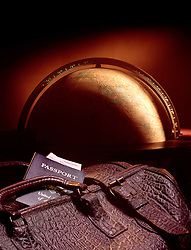 large globe leather suitcase passport tickets copy