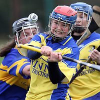 Chloe Morey Sixmilebridge about to get her clearance away under severe pressure from Newmarket's Laura McMahon during the Clare People U18A Final.<br /> Photograph by Flann Howard