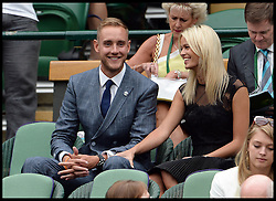 Image ©Licensed to i-Images Picture Agency. 28/06/2014, Wimbledon, London, United Kingdom. Stuart Broad and Bealey Mitchell in the Royal box on Day 6 of the Wimbledon Tennis Championship. Picture by Andrew Parsons / i-Images