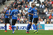 GOAL Steven Davies (19) celebrates scoring with Andy Cannon (27) during the EFL Sky Bet League 1 match between Milton Keynes Dons and Rochdale at stadium:mk, Milton Keynes, England on 11 March 2017. Photo by Daniel Youngs.