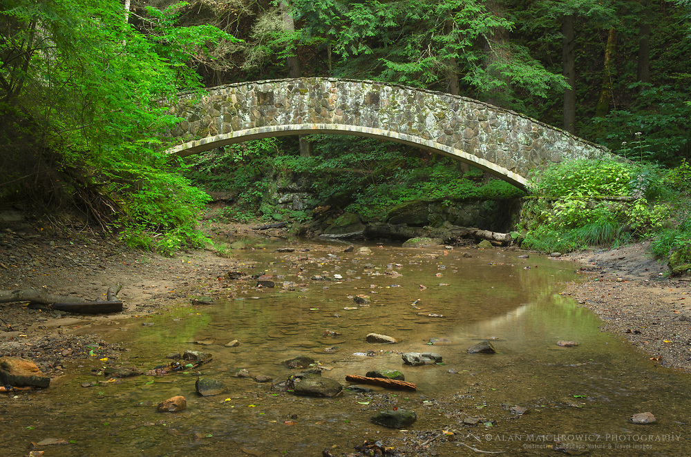 Stone foot bridge in Old Man's Cave Gorge, Hocking Hills State Park Ohio
