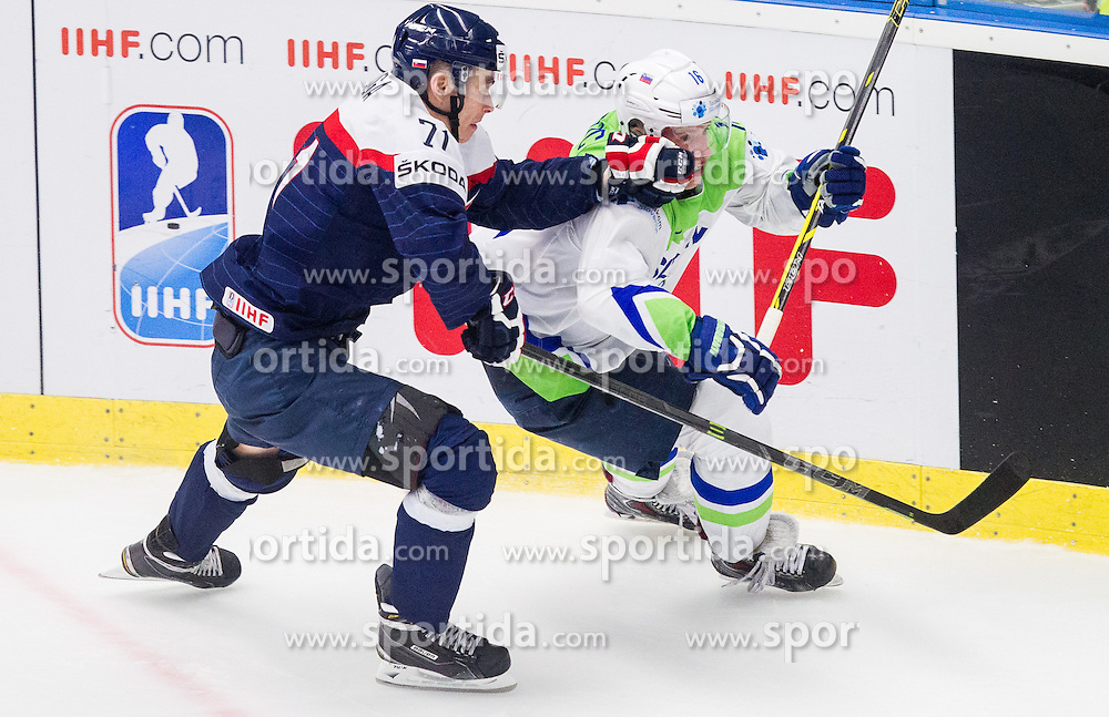Marek Daloga of Slovakia vs Ales Music of Slovenia during Ice Hockey match between Slovakia and Slovenia at Day 5 in Group B of 2015 IIHF World Championship, on May 5, 2015 in CEZ Arena, Ostrava, Czech Republic. Photo by Vid Ponikvar / Sportida