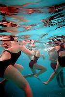 Some of the members of the Sacramento High School swim team huddle together in the unheated pool at the high school during a fund raising event at the pool. Ten members of the team collected pledges of money if they cold brave the 52 degree water for ten minutes. The event hoped to raise $300-$500 which will go to a cover for the pool to keep the heat in.