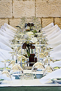 Table setup ready for wedding celebration, Hvar Island, Croatia