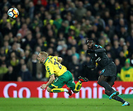 Alex Pritchard of Norwich is fouled by Tiemoue Bakayoko of Chelsea during the FA Cup match at Carrow Road, Norwich<br /> Picture by Paul Chesterton/Focus Images Ltd +44 7904 640267<br /> 06/01/2018