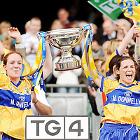27 September 2009; Louise Henchy and Carmel Considine, Clare, lift the cup. TG4 All-Ireland Ladies Football Intermediate Championship Final, Clare v Fermanagh, Croke Park, Dublin. Picture credit: Stephen McCarthy / SPORTSFILE *** NO REPRODUCTION FEE ***