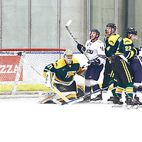 4th year Goalie, Dawson MacAuley (31) of the Regina Cougars during the Men's Hockey Home Game on Sat Dec 01 at Co-operators Center. Credit: Arthur Ward/Arthur Images