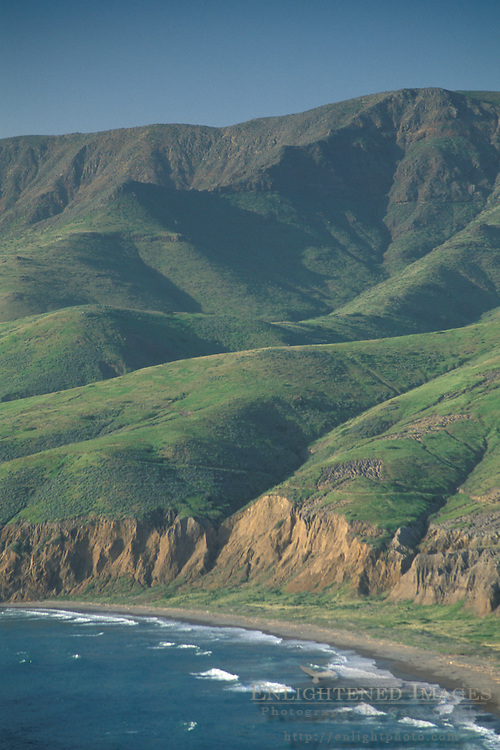 Rugged coastal green hills in spring near Christy Beach, Santa Cruz Island, California