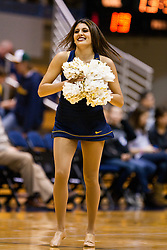 March 16, 2011; Berkeley, CA, USA;  A California Golden Bears cheerleader performs during the first half of the first round of the National Invitation Tournament against the Mississippi Rebels at Haas Pavilion.