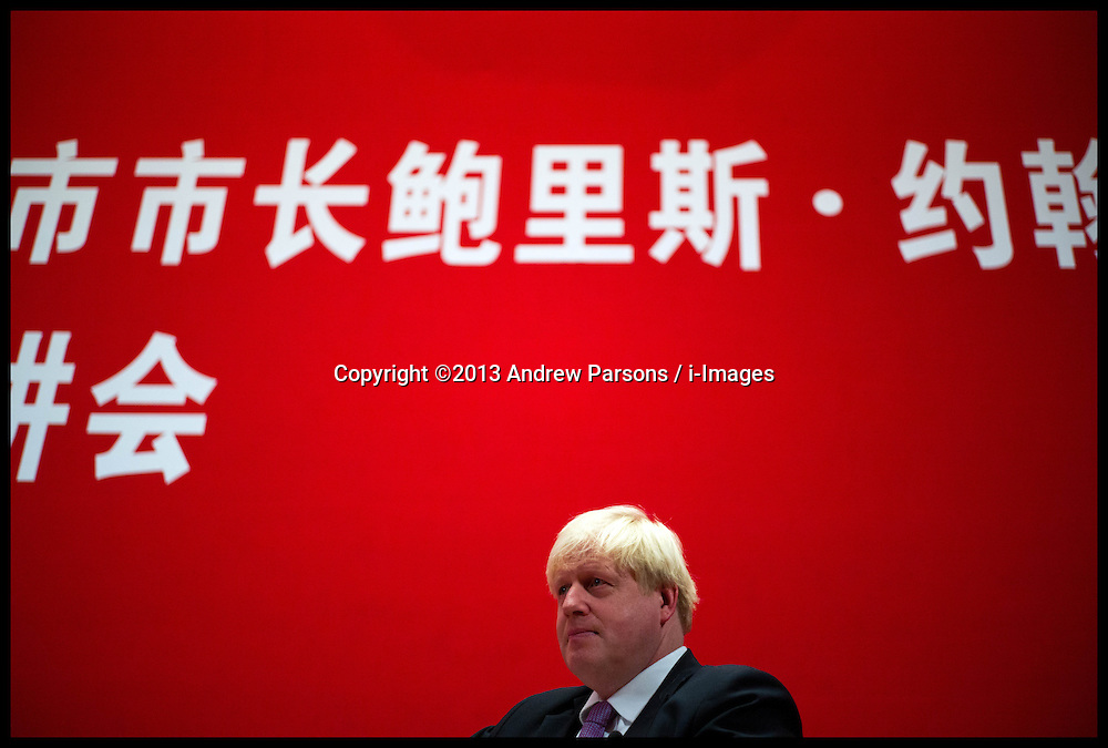 The London Mayor Boris Johnson and the Chancellor of the Exchequer George Osborne talk to students at Peking University, Beijing, China, on Day 2 of The Mayor's 6 day trip to China, Monday, 14th October 2013. Picture by Andrew Parsons / i-Images