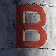 This image is one of two old storage tanks or silos in Bozeman, MT.