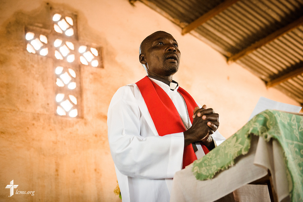 The Rev. Mintre Banganare preaches during worship at the Lutheran Church of Togo in Mire on Sunday, Feb. 12, 2017, in Mire, Togo. Banganare graduated from the Lutheran Center for Theological Studies (CLET) in nearby Dapaong.  LCMS Communications/Erik M. Lunsford