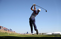 Team USA's Justin Thomas tees off the 7th during preview day four of the Ryder Cup at Le Golf National, Saint-Quentin-en-Yvelines, Paris. PRESS ASSOCIATION Photo. Picture date: Thursday September 27, 2018. See PA story GOLF Ryder. Photo credit should read: Adam Davy/PA Wire. RESTRICTIONS: Use subject to restrictions. Written editorial use only. No commercial use.