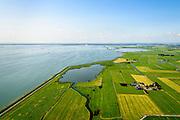 Nederland, Noord-Holland, Amsterdam, 05-08-2014; Waterland , Barnegat met Waterlandse Zeedijk (Uitdammerdijk) en IJsselmeer. Foto richting KInselmeer.<br /> Waterland with (former) seawalll, near Amsterdam. IJssel lake.<br /> luchtfoto (toeslag op standard tarieven);<br /> aerial photo (additional fee required);<br /> copyright foto/photo Siebe Swart