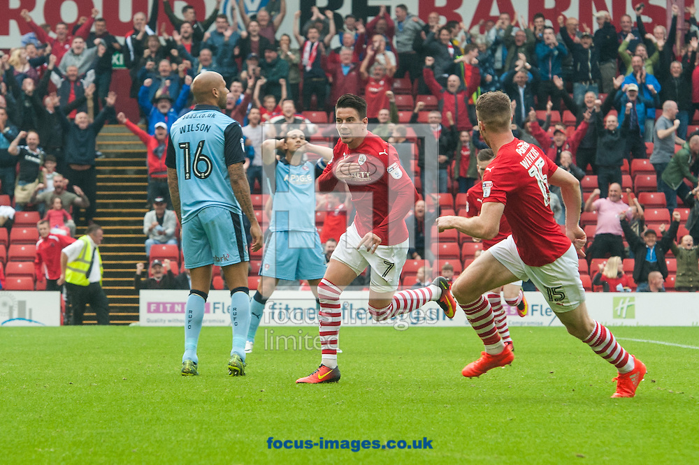Adam Hammill of Barnsley (2nd from right) turns to celebrate after scoring his sides second goal during the Sky Bet Championship match at Oakwell, Barnsley<br /> Picture by Matt Wilkinson/Focus Images Ltd 07814 960751<br /> 27/08/2016