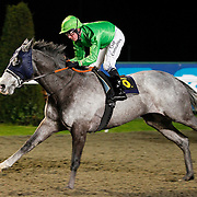 Silver Heels and Jim Crowley winning the 8.40 race