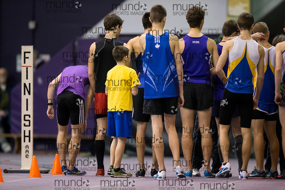 The 3000m start STL-LW All Comers Meet # 2 in London, Ontario, Saturday, January 24, 2015.<br /> Mundo Sport Images/ Geoff Robins
