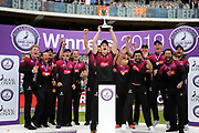 Captain Tom Abell raises the trophy aloft as Somerset celebrate winning the Royal London One Day Cup during the Royal London One-Day Cup final  between Somerset County Cricket Club and Hampshire County Cricket Club at Lord's Cricket Ground, St John's Wood, United Kingdom on 25 May 2019.